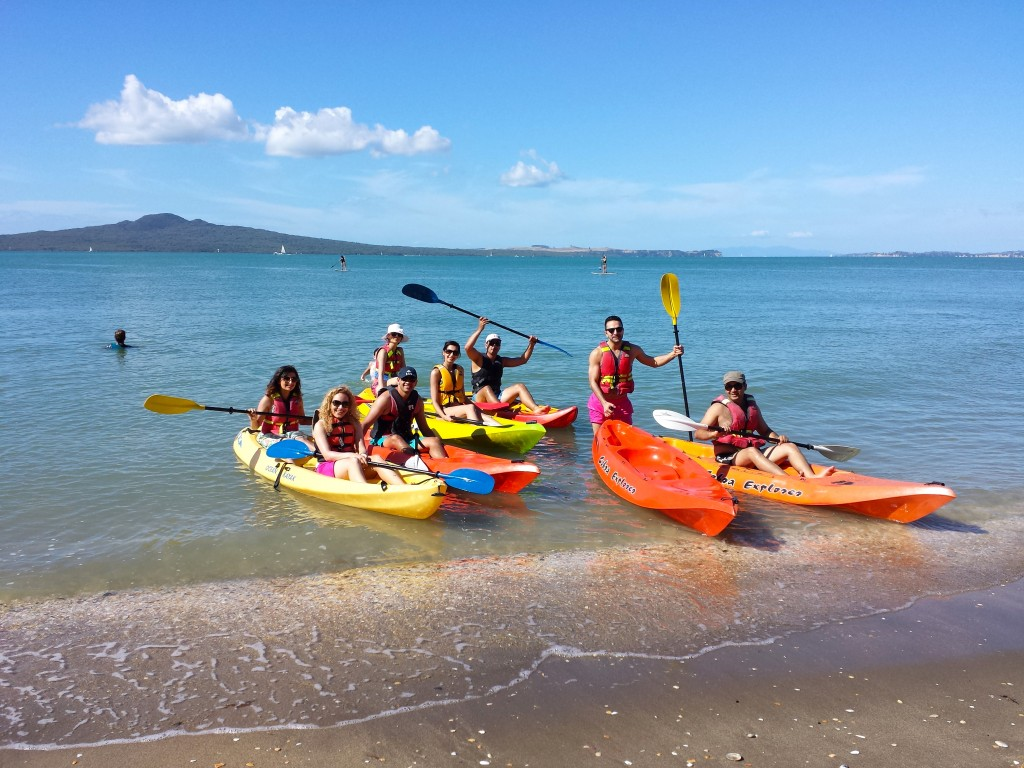 Group activity in Auckland: kayaking at Mission Bay